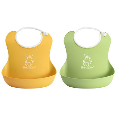 BabyBjorn Soft Bibs Green & Yellow