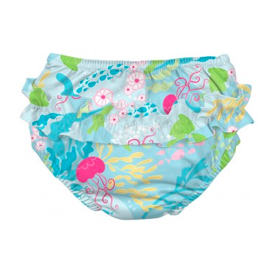 iPlay Ruffle Snap Reusable Absorbent Swimsuit Diaper Aqua Coral Reef