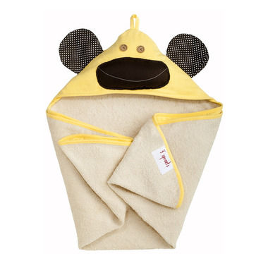 3 Sprouts Cotton Hooded Towel Yellow Monkey