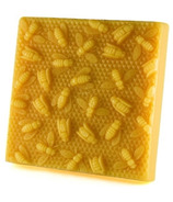 "Honey Candles Pure Beeswax Block ""Bees on Honeycomb"""