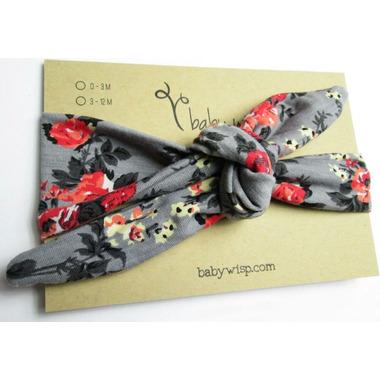 Baby Wisp Top Knot Headband Grey Floral Print