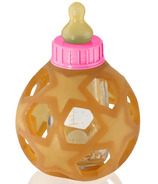 Hevea Baby Glass Bottle with Natural Rubber Cover & Pink Cap