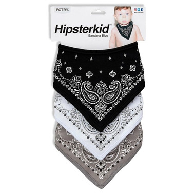 FCTRY Bandana Bibs Black, Grey and White