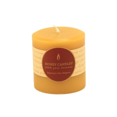 Honey Candles Pure Beeswax 3-inch x 3-inch Pillar Candle Natural