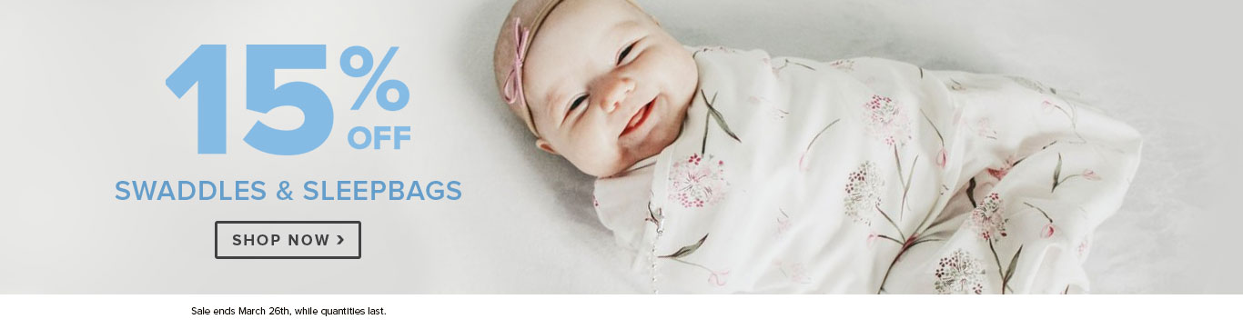 Save 15% on Swaddles & Sleepbags