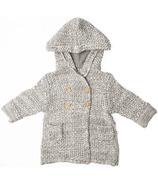 Beba Bean Crochet Knit Hoodie Grey