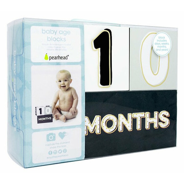 Pearhead Baby Age Blocks Black, White and Gold
