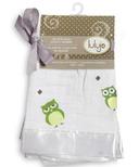 Lulujo Baby Muslin Cotton Security Blankets Green Owl