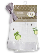 Lulujo Baby Muslin Cotton Security Blankets Green Owl
