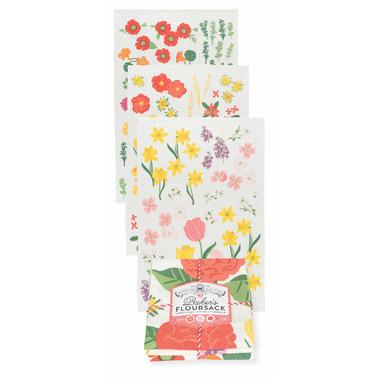 Now Design Tea Towel Bakers Flour Sack Flowers of the Month Set