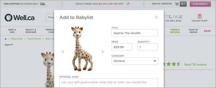 Add baby products to Well.ca baby registry