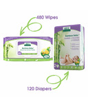Aleva Naturals Bamboo Size 2 Diaper and Wipes Bundle