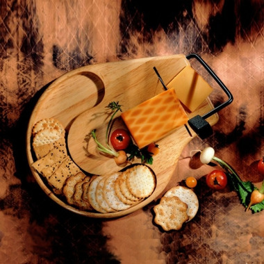 Prodyne Beechwood Slicer/Server Tray with Recessed Cracker Well