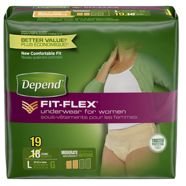Depend for Women Underwear with FIT-FLEX Protection L