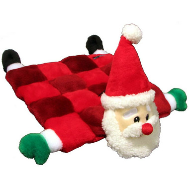 Kyjen Holiday Square Squeaker Mat Santa Dog Toy