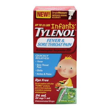 Infants\' Tylenol Fever & Sore Throat Pain Suspension Drops