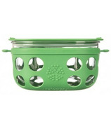 Lifefactory 4 Cup Glass Food Storage with Grass Green Silicone Sleeve