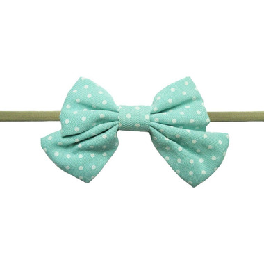 Baby Wisp Oversized Headband Sailor Bow Aqua and White Polka Dots