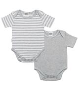 Kushies Short Sleeve Bodysuit Light Grey Stripes & Blue