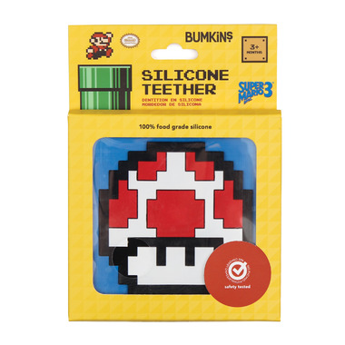 Bumkins Nintendo Silicone Teether 8-Bit Red Mushroom