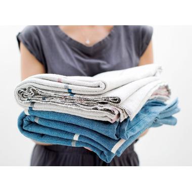 Halfmoon Cotton Yoga Blanket Stripe Indigo