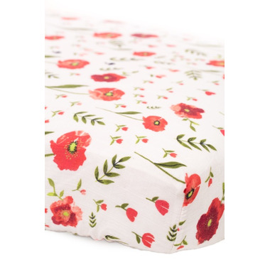 Little Unicorn Cotton Muslin Fitted Sheet Summer Poppy