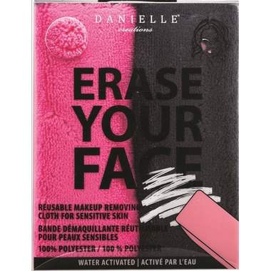 Danielle Erase Your Face Makeup Removing Cloths 2 Pack Pink and Black