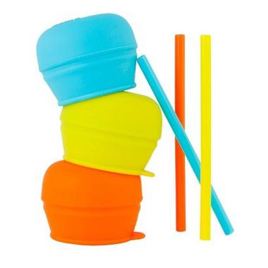 Boon Snug Straw Lids Orange Multi