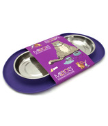 Messy Cats Stainless Steel Double Cat Feeder with Non-Slip Base Purple