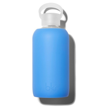 bkr Romeo Glass Water Bottle Sheer Periwinkle Blue