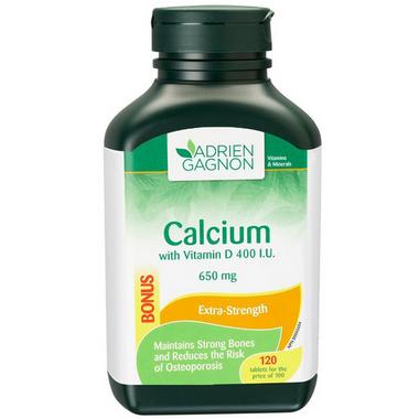 Adrien Gagnon Calcium Extra Strength 650 mg + Vitamin D