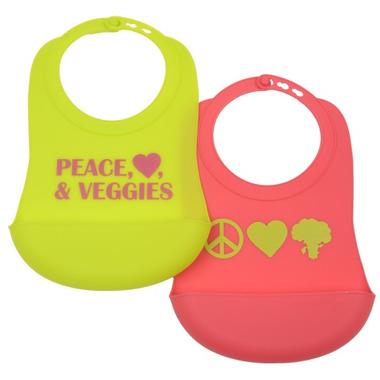 Chewbeads Silicone Bibs Peace, Heart & Veggie