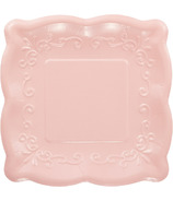 Elise Embossed Square Luncheon Plate Pink