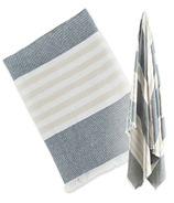 Lulujo Turkish Towel Classic Navy & Oatmeal