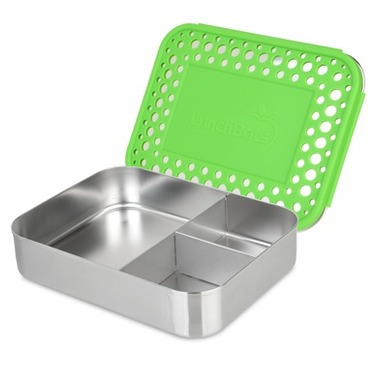 LunchBots Trio Bento Green Dots