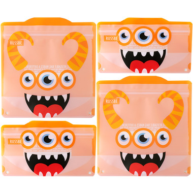Russbe Reusable Snack/Sandwich Bags Orange Monster