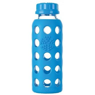 Lifefactory Glass Bottle Blue Flat Cap & Sleeve