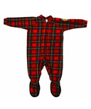 Snug As A Bug Kids Footed Onesie Christmas Plaid