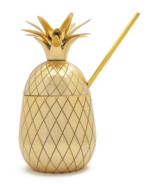 W&P Large Pineapple Tumbler with Straw Gold
