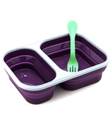 Eco Vessel Collapsible Silicone Double Compartment Food Container Purple