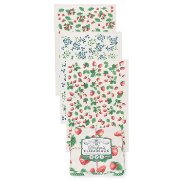Now Design Tea Towel Set Bakers Flour Sack Berry Patch