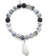 Oriwest Feather Agate Lava Bead Bracelet