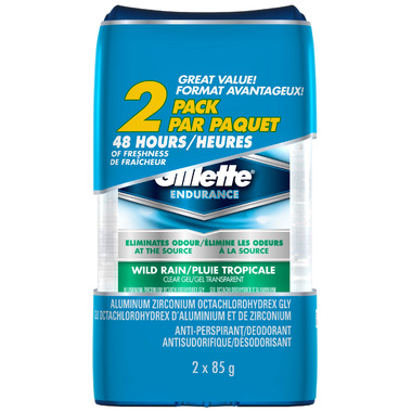 Gillette Endurance Clear Gel Cool Rain Antiperspirant Twin Pack