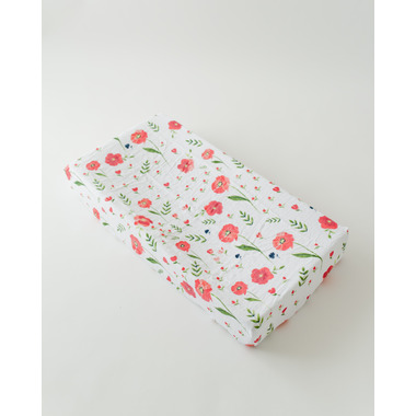 Little Unicorn Brushed Changing Pad Cover Summer Poppy