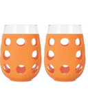 Lifefactory Large Wine Glasses with Orange Silicone Sleeve