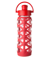 Lifefactory Glass Bottle with Active Flip Cap & Red Silicone Sleeve