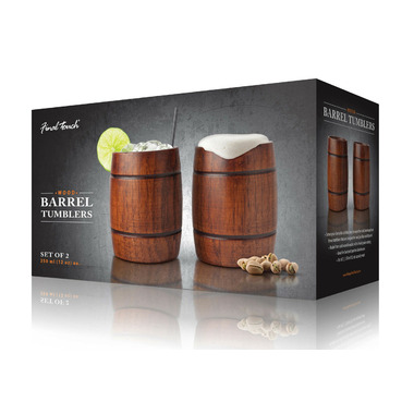 Final Touch Wood Barrel Tumblers