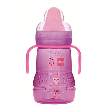 Mam Trainer Bottle with Handles 8oz Pink