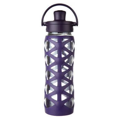 Lifefactory Glass Bottle with Active Flip Cap & Aubergine Silicone Sleeve