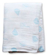 Lulujo Baby Muslin Cotton Swadding Blanket Blue Sailboats